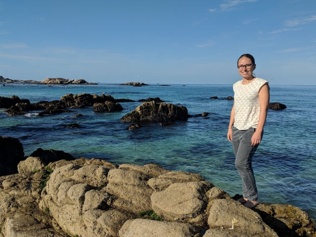 Julie Lowndes on the rocks by the sea