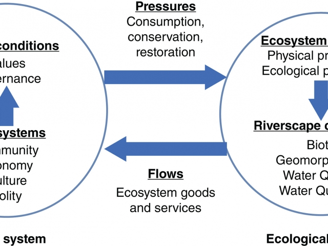 Diagram showing concept of rivers as socio-ecological systems