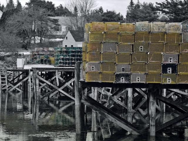 New England lobster traps piled up on the piers.