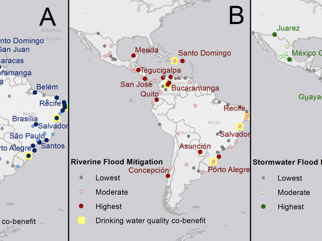 Drinking water quality and flood mitigation maps of South America