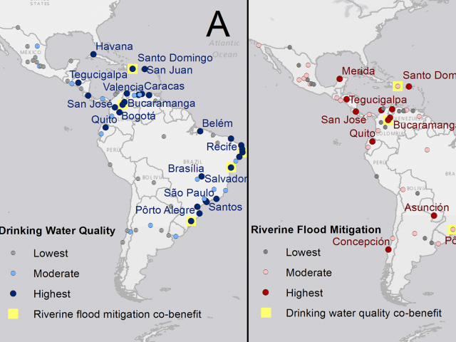 Drinking water and flood mitigation map for South America