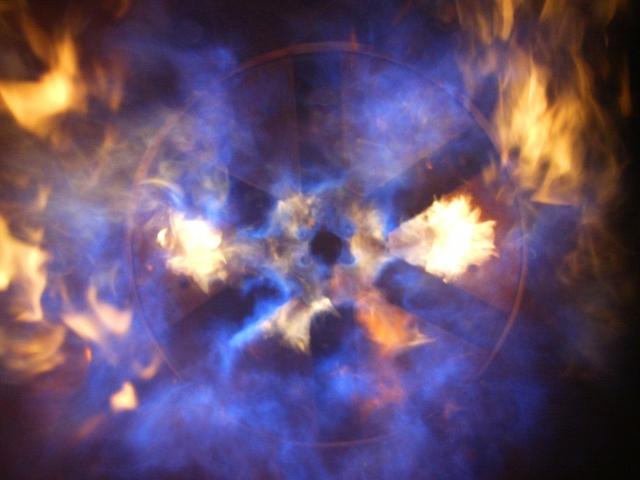 intense natural gas flames