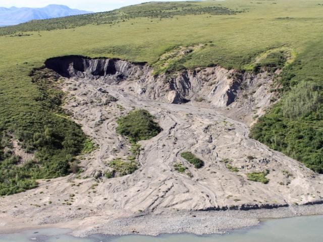 Erosion from permafrost melting