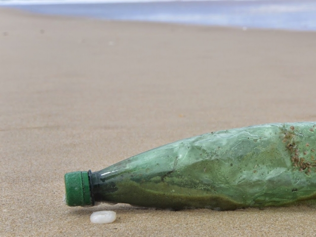 Green plastic bottle lying on beach