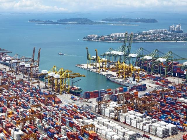 Aerial view of ocean ship yard