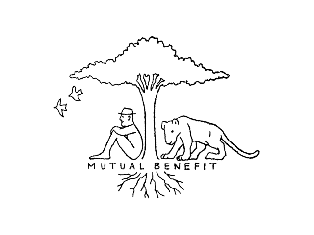 illustration of man and cougar under a tree