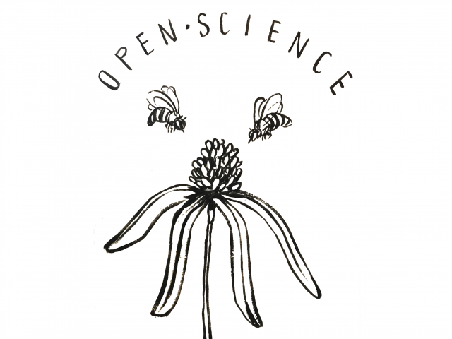 illustration of flower and bee that says Open Science Promotes More Honey