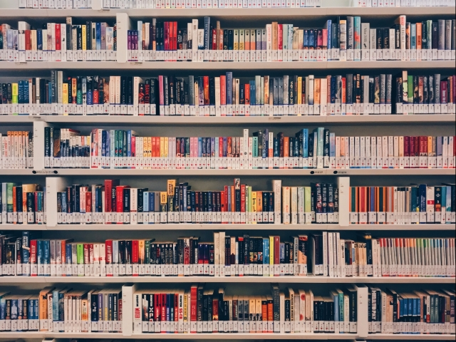 Shelf full of books in a library
