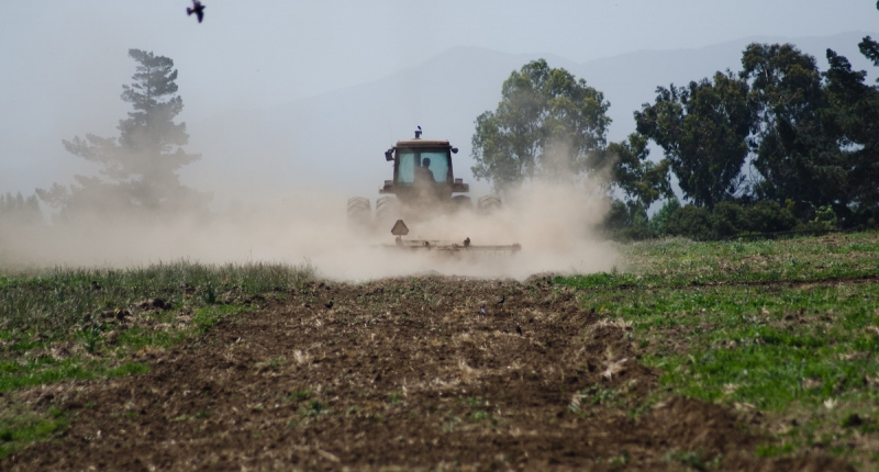 a tractor plowing the field