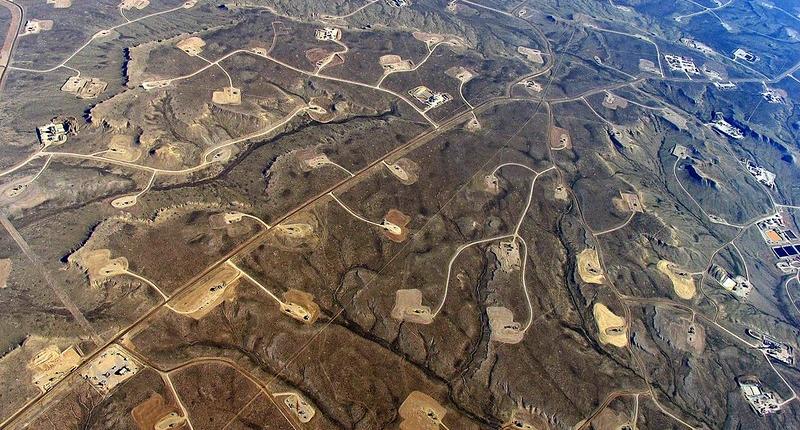 Aerial of large frack oil field