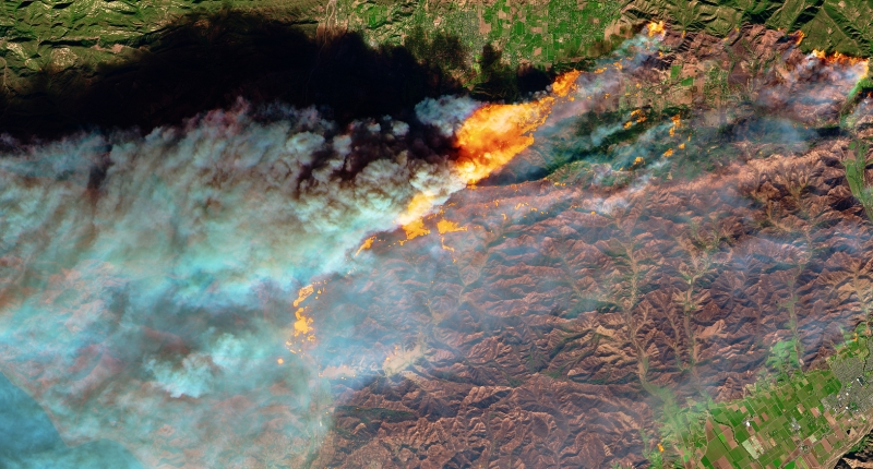 aerial view of wildfire smoke