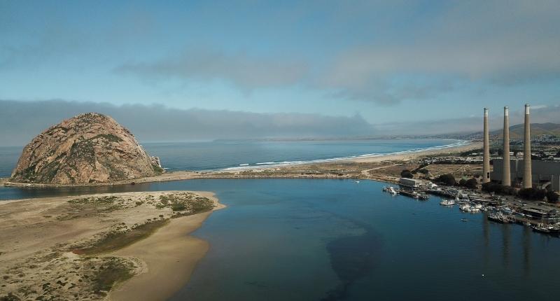 Morro bay with smoke stacks