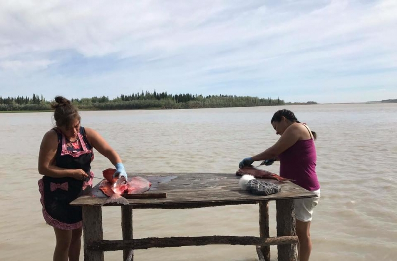 Two women cutting and cleaning salmon