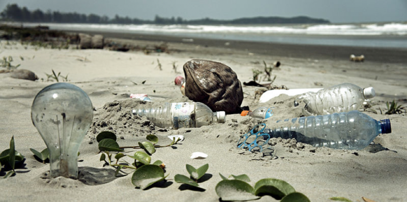 Plastic waste on a beach in Malaysia
