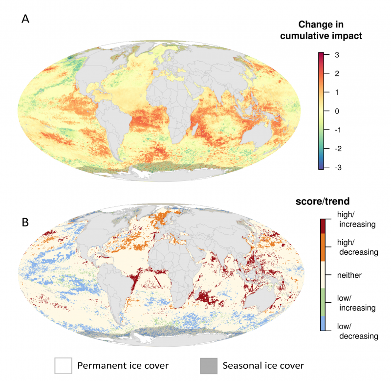 Maps showing changes in cumulative impacts to oceans