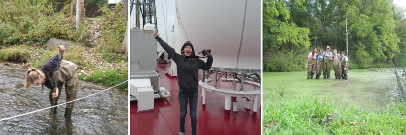 Three photos of women conducting field research