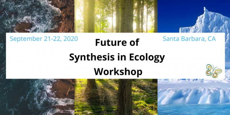 Images of nature with text box providing details on the Future of Synthesis in Ecology Workshop taking place September 21-22, 2020 at NCEAS